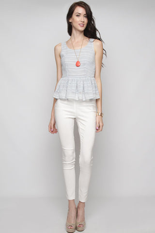 Peplum Top in Stripe Gray Blue