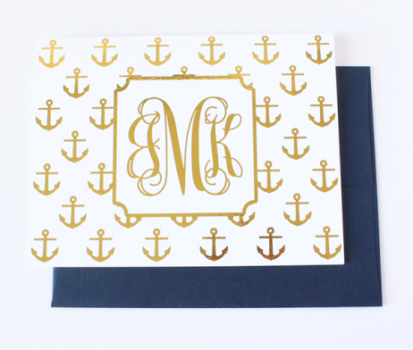 Anchor Monogram Foil Note Cards | Gold or Silver