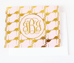 Flamingo Monogram Foil Note Cards | Gold or Silver