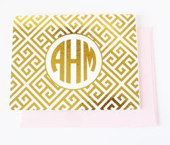 Greek Key Monogram Foil Note Cards | Gold or Silver