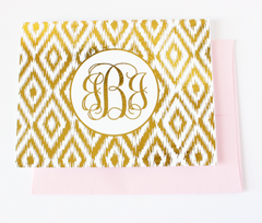 Ikat Monogram Foil Note Cards | Gold or Silver