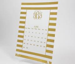Foil Monogram Desk Calendar | Gold or Silver