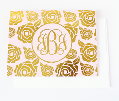 Rose Monogram Foil Note Cards | Gold or Silver