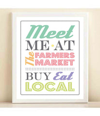 'Meet Me at the Farmers Market' print poster