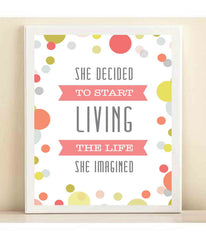 "Colorful Confetti, Pink ""Life She Imagined"" print poster"