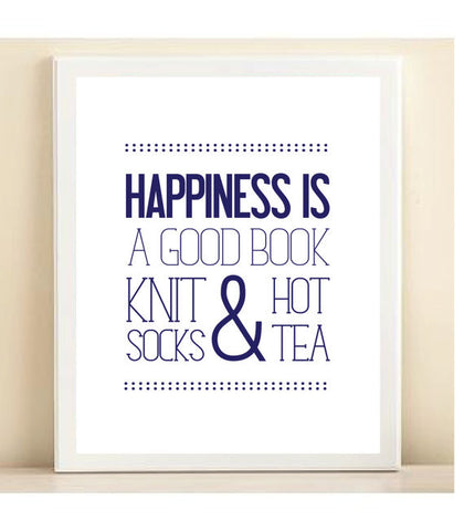 Navy 'Happiness is a Good Book, Knit Socks, & Hot Tea' print poster