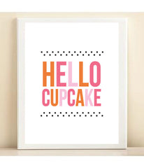 Orange, Pink, and Polka Dot 'Hello Cupcake' print poster