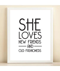 Black and White 'She Loves New Friends and Old Fashioneds' Bar Cart Collection print poster
