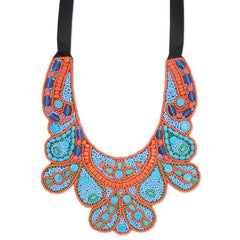 Turquoise & Red Beaded Bib Necklace