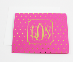 Foil Polka Dot Monogram Note Cards | Gold or Silver