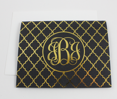 Foil Quatrefoil Monogram Note Cards | Gold or Silver