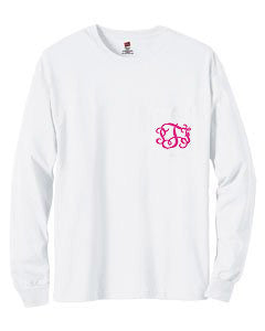 Monogrammed Long Sleeve Pocket T-Shirt - White