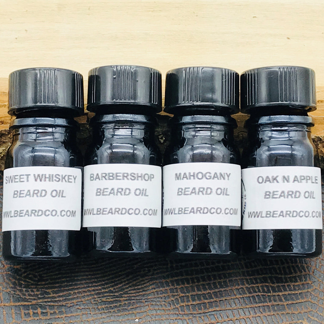 Beard Oil Sample Pack - Whiskey, Wood & Leather Beard Company
