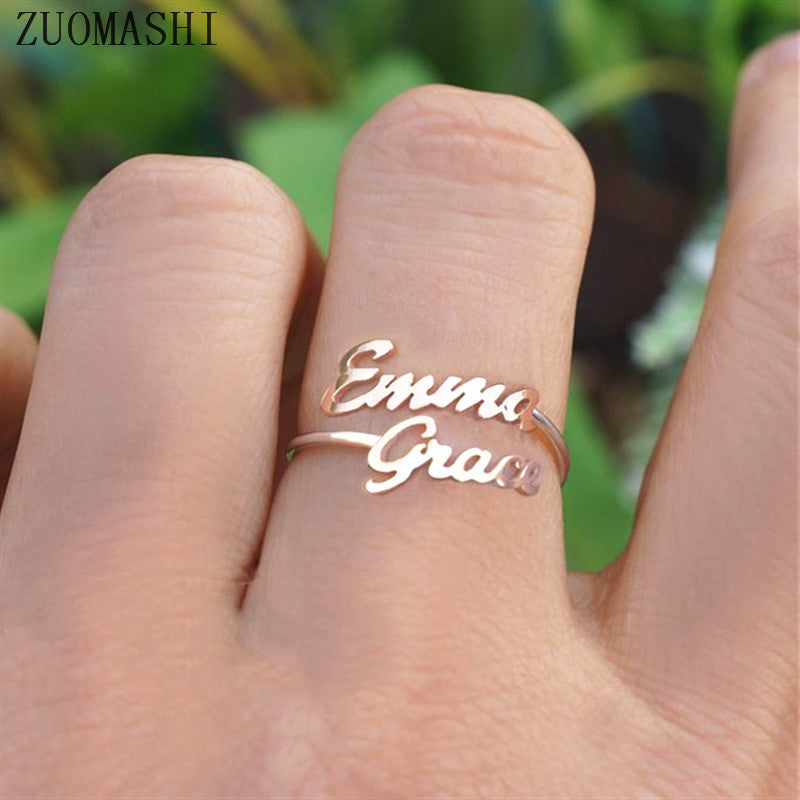 Double Name Ring Custom Two Name Rings