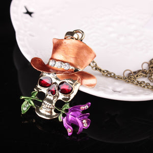 Alloy Rose Pendant Necklace 4 Color