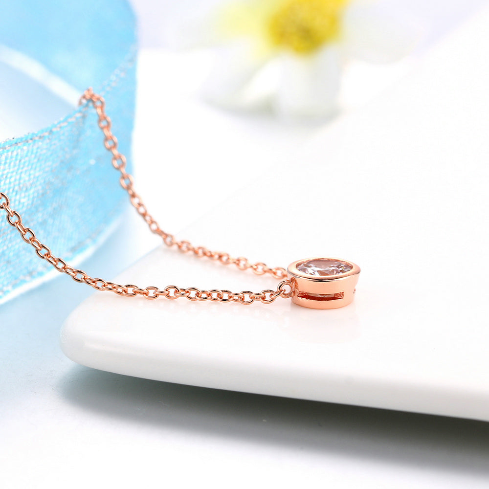 Simply Small Round 1 carat Cubic Zirconia Rose Gold Color Pendant Necklace