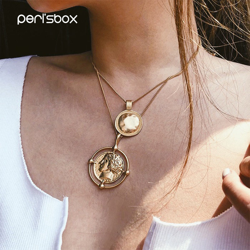 Gold Color Hanging Portrait Coin Chain Choker