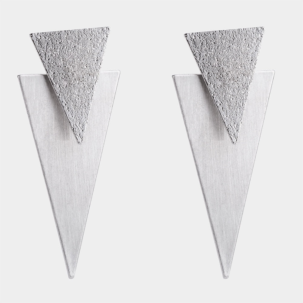Geometric Triangle Metal Drop Dangle Earrings