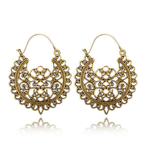 Ethnic Hollow Flower Gypsy Dangle Earrings