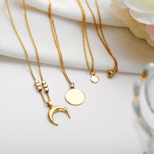 Multilayer Necklace Simple Pendant Necklace with Gold Color Moon