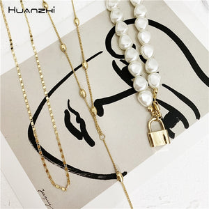 Hip Hop Multi-layer Imitation Irregular Pearls Chain Metal