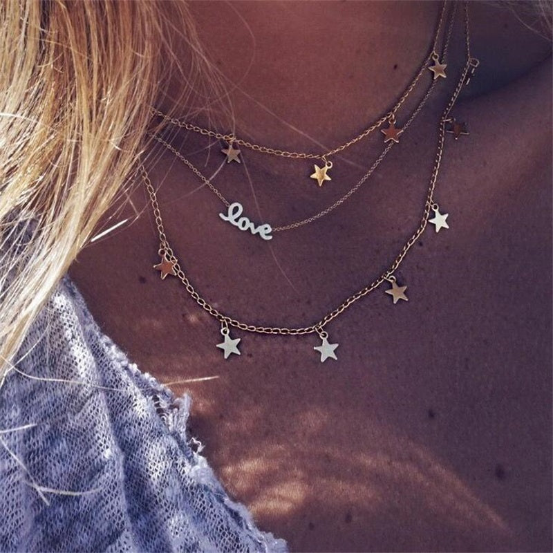 Star Moon Pendant Necklace Boho Geometric Crystal Layered Necklaces