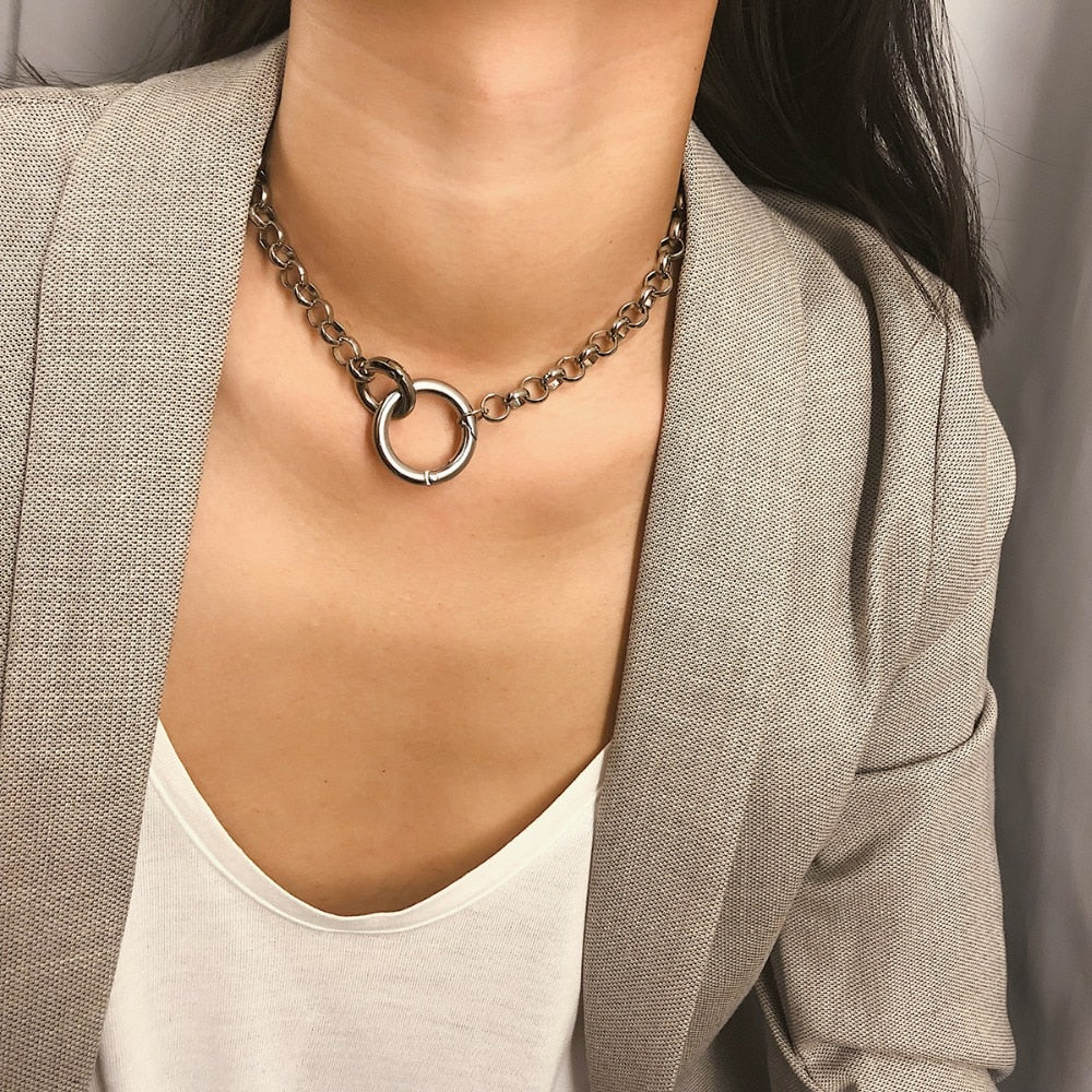 Trendy Iron Thick Chain Circle Necklace