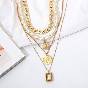 Multilayer Chains Pearl Necklaces Geometric Crystal Pendants