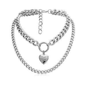 Heart Choker Necklace for Women Big Thick Chain Round