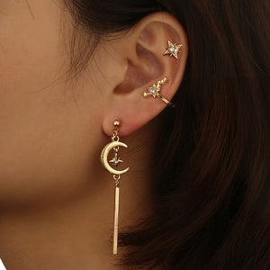 Retro Star Moon Nail Size Five-pointed Star Crystal Alloy Earrings