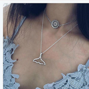Manual Multilayer Double Tail Necklace Bohemian Silver Necklace