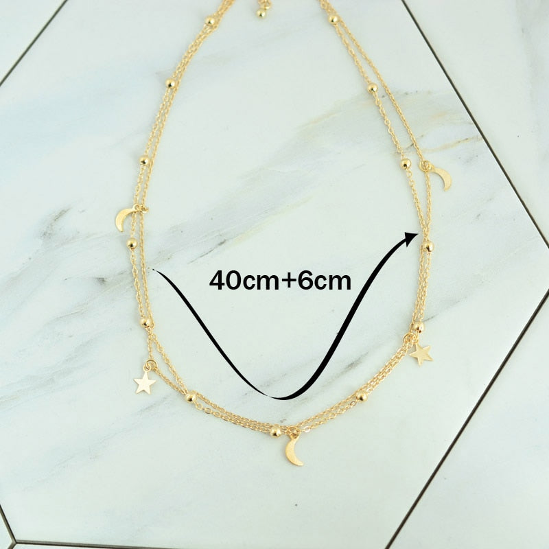 2 Layer Star Moon Choker Necklace