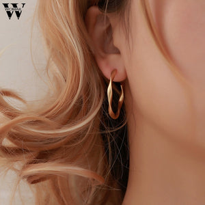 Minimalist Geometric Distortion Long Hollow Big Round Earrings