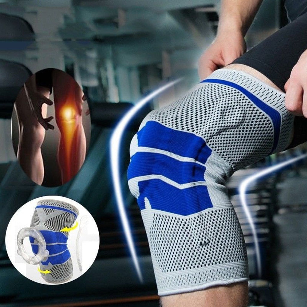 Silicone Spring Full Knee Brace Strap Patella Medial Support