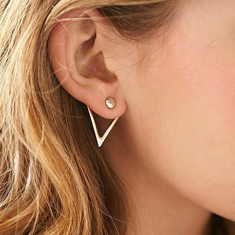 Simple Double Round Drop Earrings
