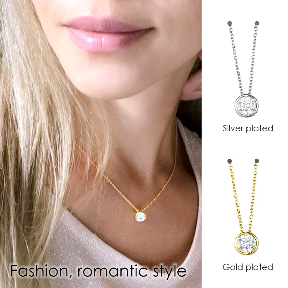 Zircon 925 Sterling Silver Round Choker Necklace