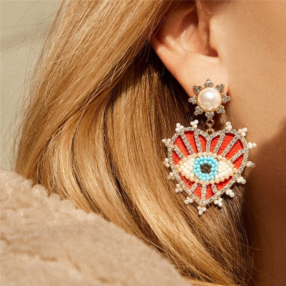Lina Evil Eye Drop Earrings - Fab Collection Jewelry