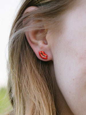 Red Lips Stud Earrings Set of 3 - Fab Collection Jewelry
