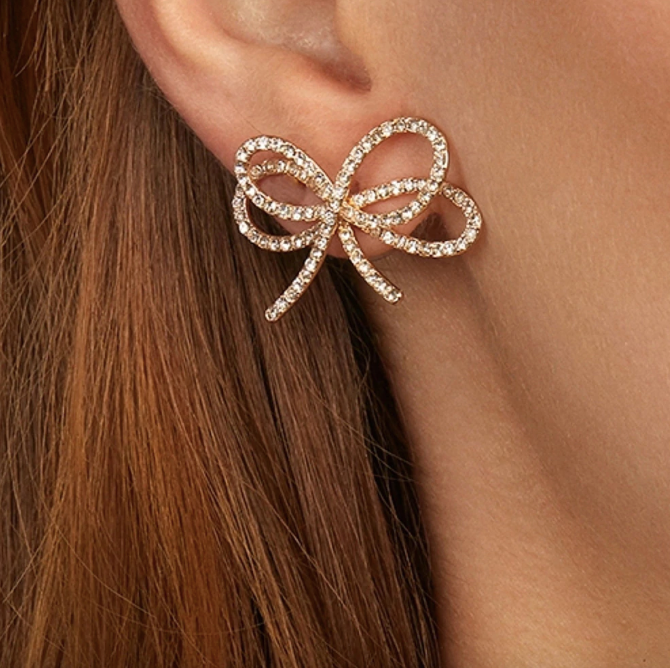 Crystal Papillon Stud Earrings - Fab Collection Jewelry