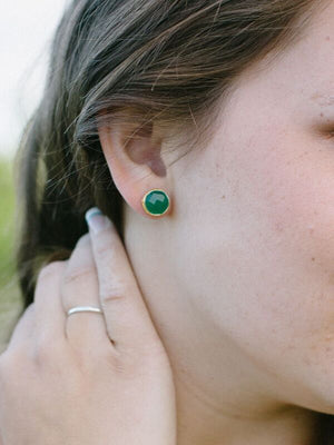 Green Eclipse, Gold plated Stud Earrings - Fab Collection Jewelry