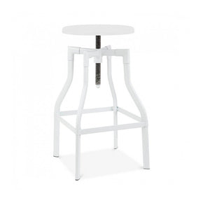 DesignLab MN LS-9201-WHT Machinist Glossy White Adjustable Steel Barstool 26 - 32 Inch 646263990940