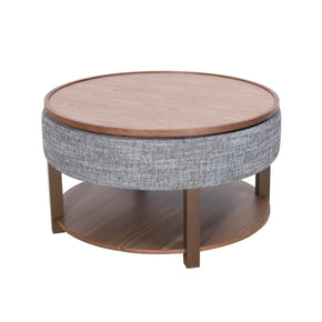Neville Lift-Top Round Storage Coffee Table Ash Gray/Walnut