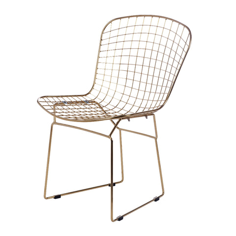 Dining Chairs - Fine Mod Imports FMI10301-WHITE Gold Wire Side Chair (Set of 2 Chairs) | 671875469850 | Only $294.80. Buy today at http://www.contemporaryfurniturewarehouse.com