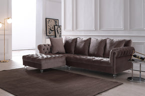 Vig Furniture VG2T1127-52A Divani Casa Temple Modern Light Grey Velvet Sectional Sofa