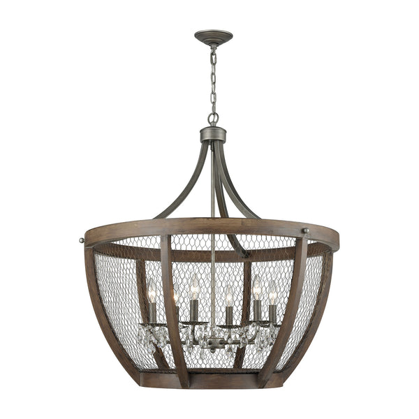 Chandeliers - Elk Group ELK-1140-033 Renaissance Invention Wide Basket Pendant Weathered Zinc | 818008035340 | Only $878.00. Buy today at http://www.contemporaryfurniturewarehouse.com