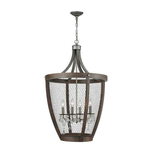 Chandeliers - Elk Group ELK-1140-034 Renaissance Invention Long Basket Pendant Weathered Zinc | 818008035357 | Only $718.00. Buy today at http://www.contemporaryfurniturewarehouse.com