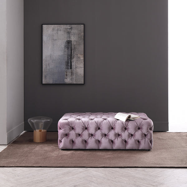Vig Furniture VG2T1159-PUR Divani Casa Spiegel Transitional Purple Velvet Tufted Ottoman