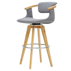 Darwin Fabric Bamboo Counter Stool Stokes Gray/Natural