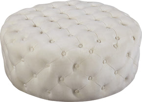 Meridian Furniture 122Cream Addison Cream Velvet Ottoman/Bench 647899949425