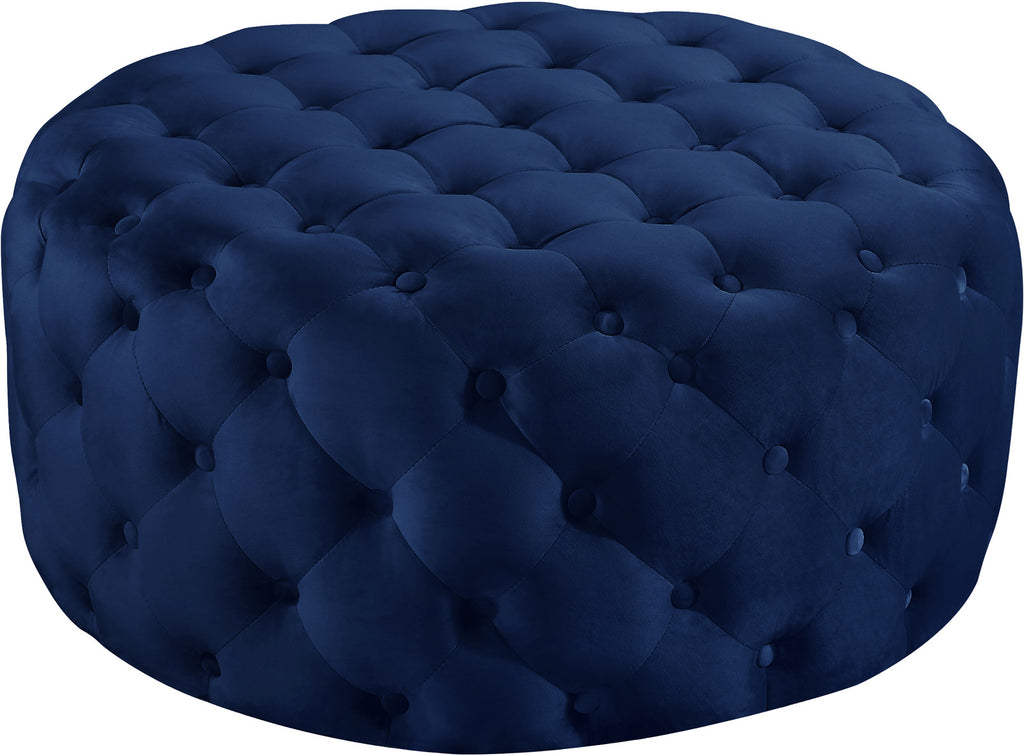 Meridian Furniture 122Navy Addison Navy Velvet Ottoman/Bench 647899949401